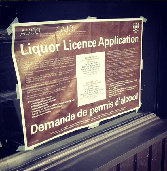 Quitters liquor license application sign