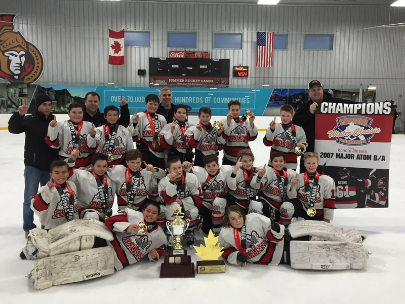 Stittsville Major Atom Rams. Top Row: Keegan Pearce, Christian Lamb, Danny Finnie, Ryan Power, Cooper Stansel, Daniel Rogers, Ryder Pennell. Middle Row: Marshall Jamieson, Janik Selway, Brody Yakabuski, Kallum Malloy, Jack Lariviere, Ryan Wallace, Tyler Edmond, Mitchell Cairns. Front Row: Taiki Mossman, Riley Martin.