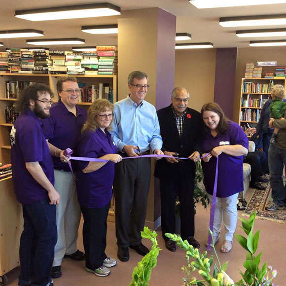 From left to right is Rob Tougas, Dean McIntosh, Dee McIntosh, Mayor Jim Watson, Shad Qadri, Debbie Royle (friend who was there helping for the day). At the Grand Opening of Re-Read books on November 7, 2015.