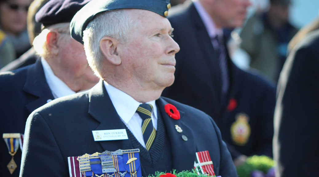 Remembrance Day ceremonial service at the Cenotaph on Warner-Colpitts Lane. Photo by Barry Gray.