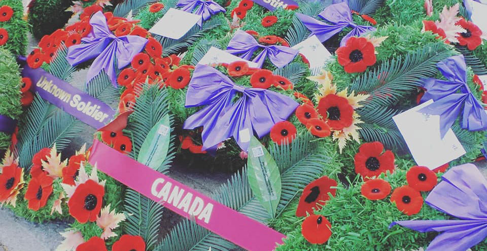 Wreaths at the cenotaph. Photo by Glen Gower.