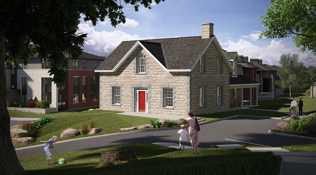 A concept drawing showing the Richardson Farmhouse used as a condo clubhouse in the Uniform development
