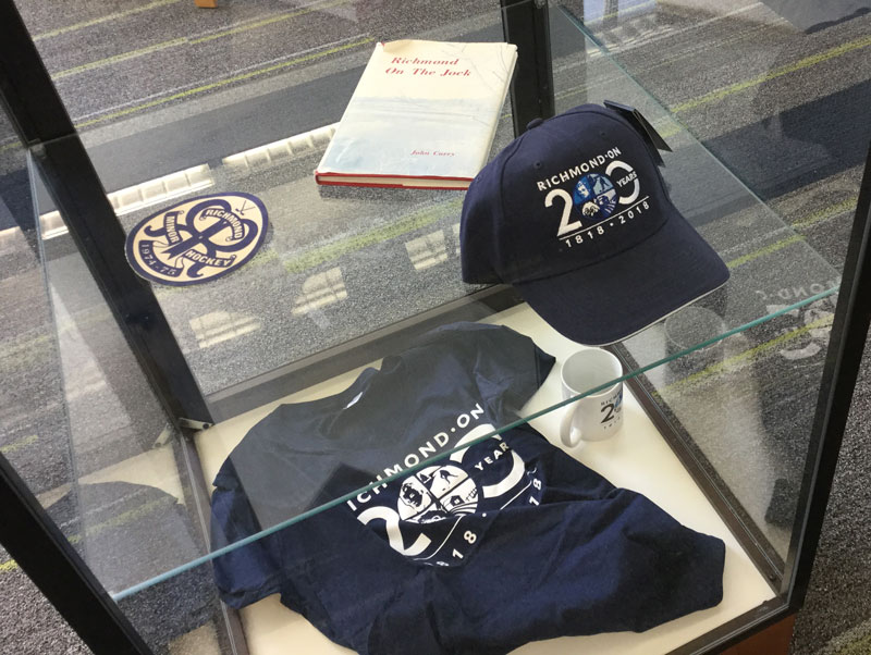 Richmond 200th anniversary merchandise on display at the library.