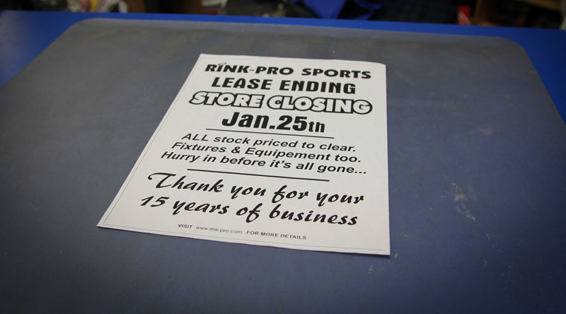 Rink-Pro Sports is holding a store closing sale. Photo by Barry Gray.