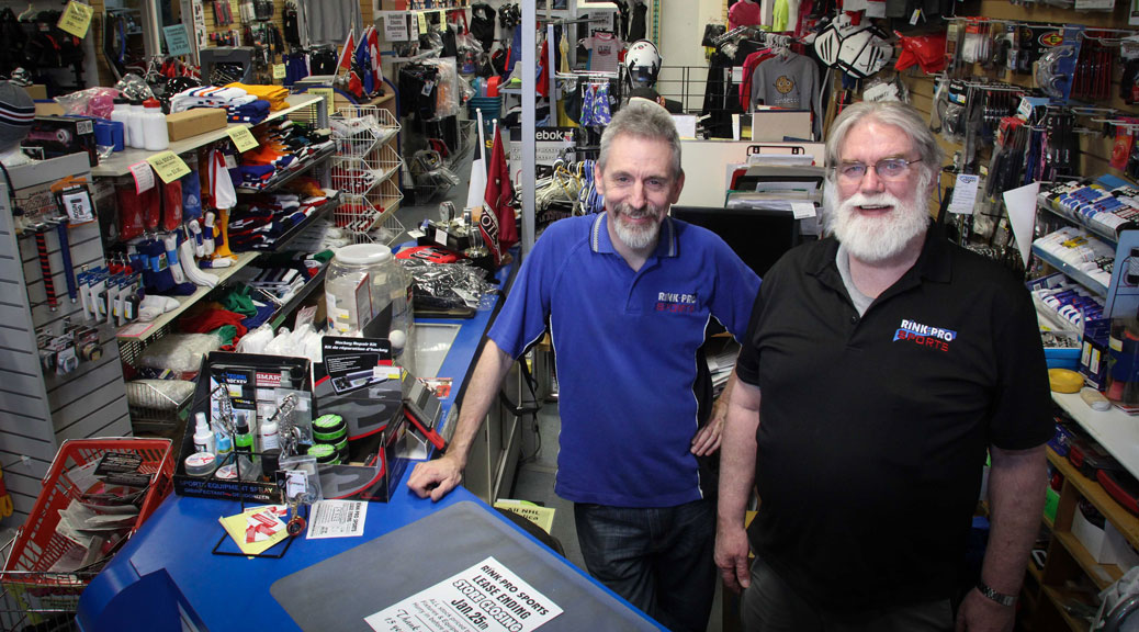 Rink-Pro owner Luc Forget with long-time employee Rick Spencer at the store in Jackson Trails Plaza. Photo by Barry Gray.