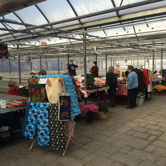 Craft and flea market under the greenhouse at Ritchie Feed and Seed. The market runs every Saturday in November.