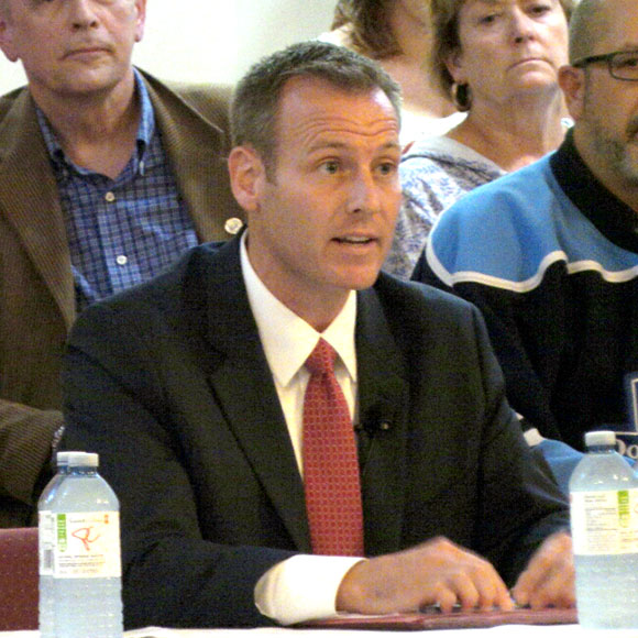 Liberal candidate Chris Rodgers at the Stittsville Village Association debate on September 28.