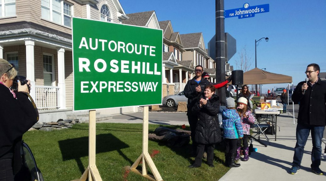 Unveiling the Rosehill Expressway sign. Photo by C.W.