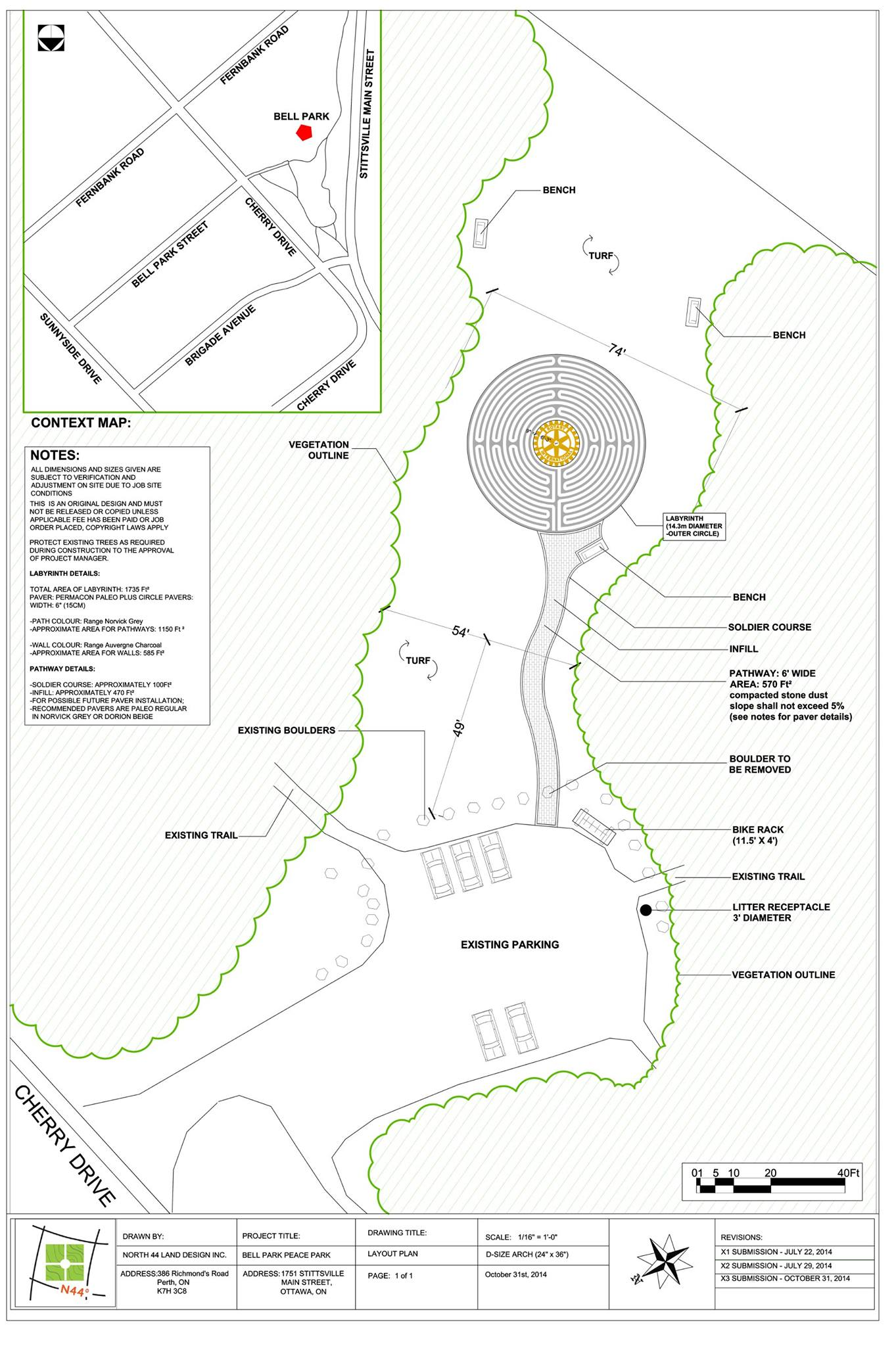 Rotary Peace Park map and plan
