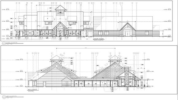 Elevation plans from the site plan control application for an addition to the Ruddy-Shenkman Hospice on McCurdy Drive in Kanata.