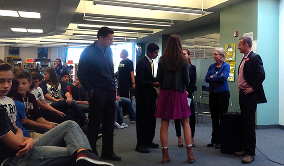 Candidates chat with students at the Sacred Heart High School federal candidate event. Photo by Connor Boudreau.