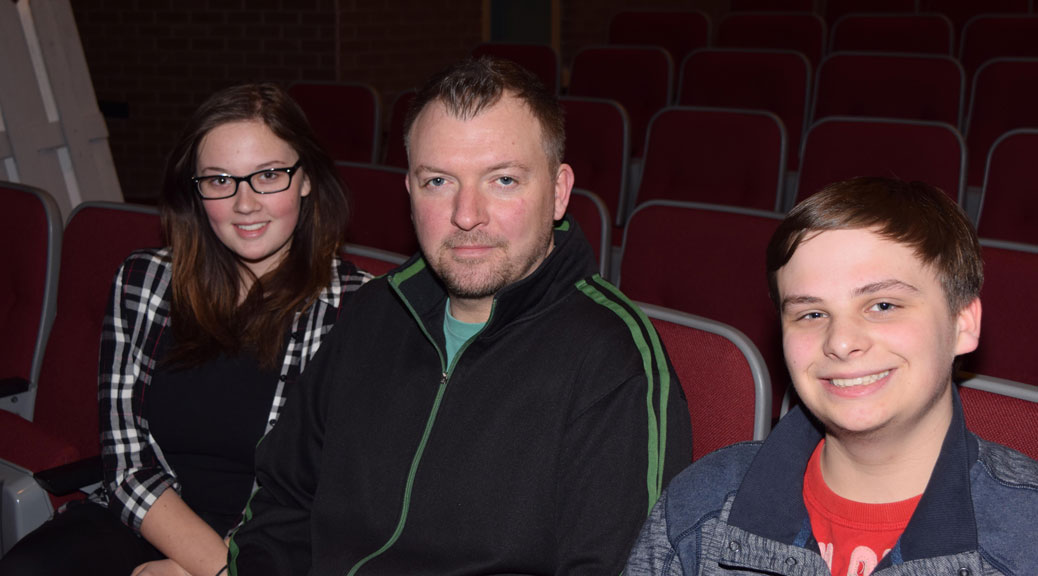 From left, lead actor Daniella Atkinson, drama teacher Matt Muirhead and student director Nicholas Rocque.