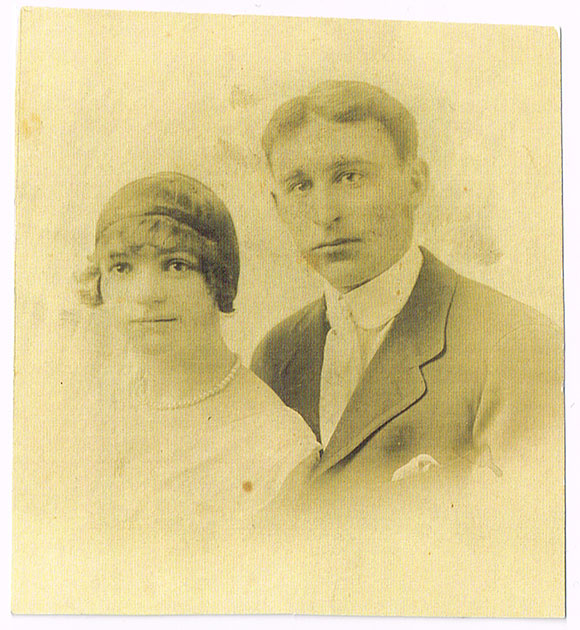 Lillian (Lilly) Scharfe and Scott James on their wedding day in 1918.