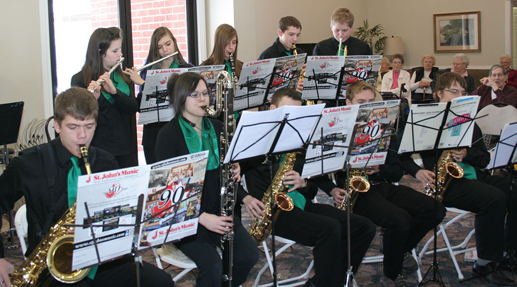 students from the school bands of Carleton Place High School, and Hillside High School in Valleyview, Alberta performed a morning concert at Carleton Place Terrace senior's residence
