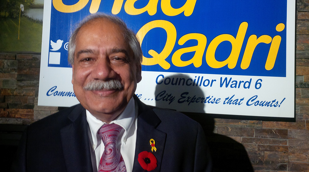 Shad Qadri celebrates his election win on October 27. Photo by Glen Gower.