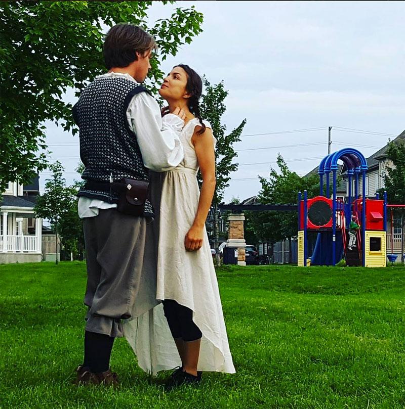 Bear & Co. perform Romeo & Juliet in Par La Ville Park. Star-crossed lovers Romeo (Phillip Merriman) and Juliet (Zoe Georgaras). Photo by Glen Gower.