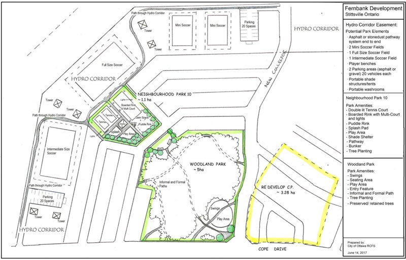 "This map shows a ""possible design scenario"" for the configuration of the woodland park and a neighbourhood park within the hydro easement. (Map via City of Ottawa / documents to be tabled at Planning Committee on October 24.)"