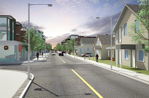 "Artist's rendering of what the ""village core"" near Stittsville Main Street and Abbott could look like in the future."
