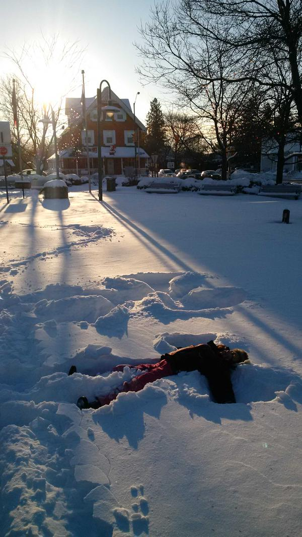 Photo by Trevor Eggleton. When life gives you snow, make snow angels.
