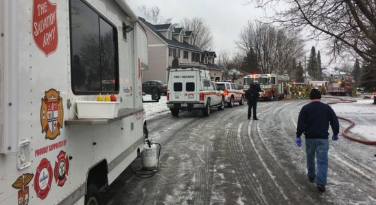 Emergency crews respond to the fire on Snowberry Way. Photo via the Salvation Army.