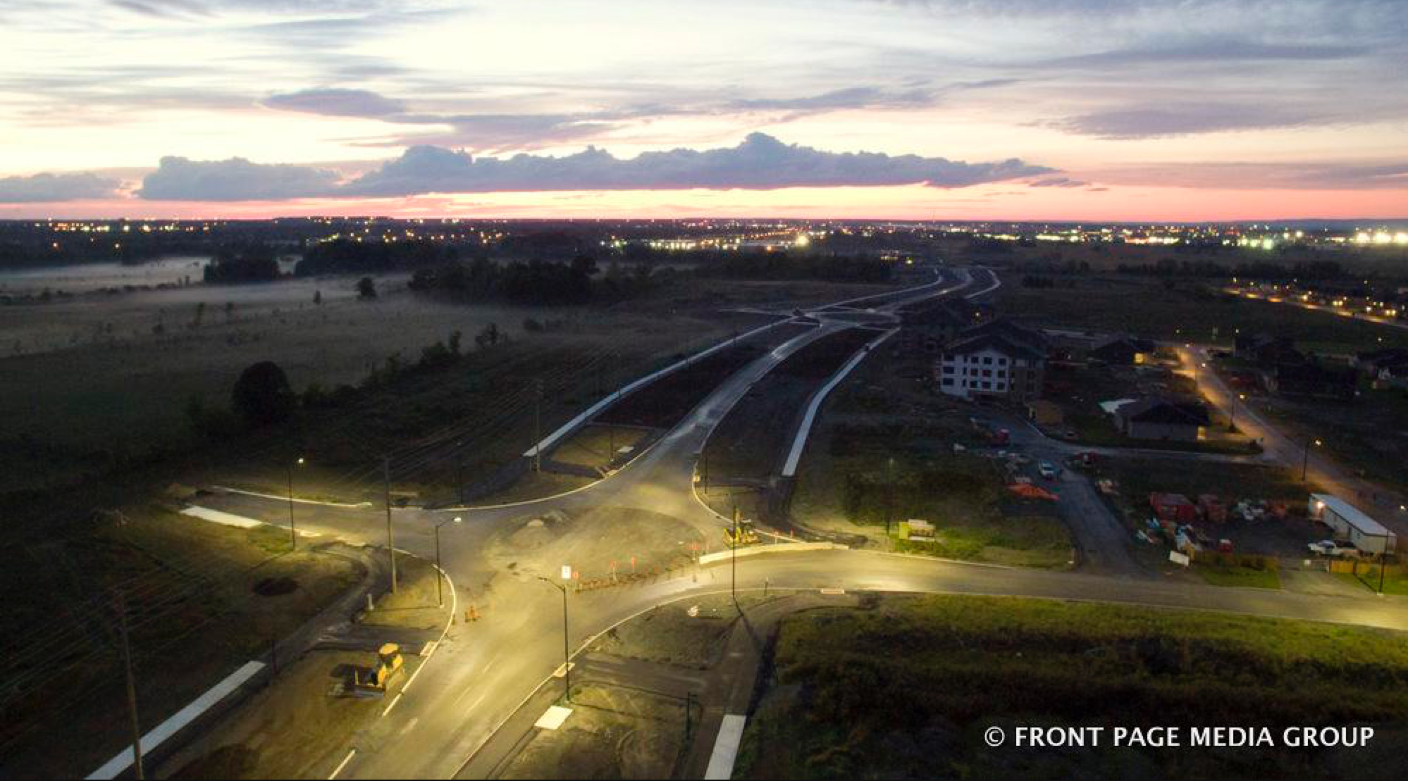 Stittsville aerial sunset. Photo by Front Page Media Group