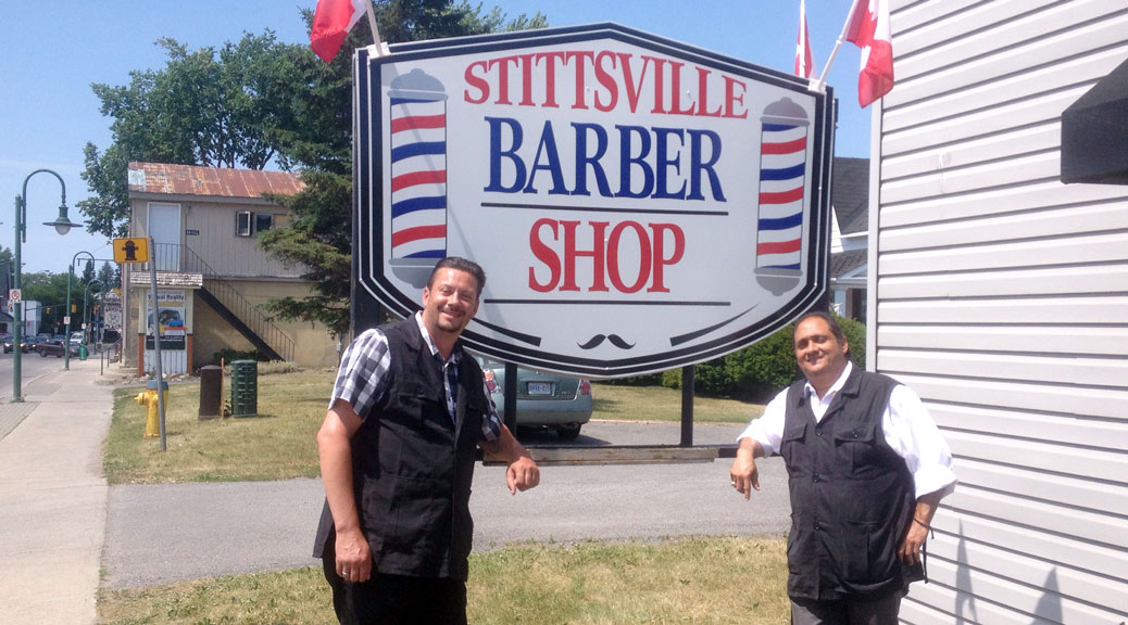 Rick Lamondon and Steve Baroud in front of the Stittsville Barbershop