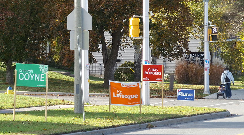 Federal election signs on Stittsville Main Street.