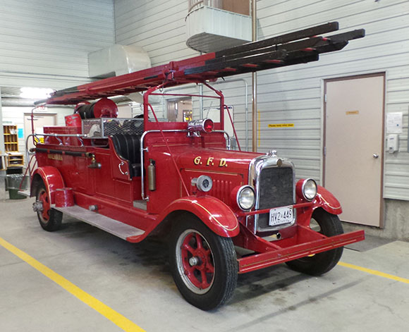 The station's 1929 Buick Pumper. In use until the 1960s, now it's used for community events like the annual Santa parade.