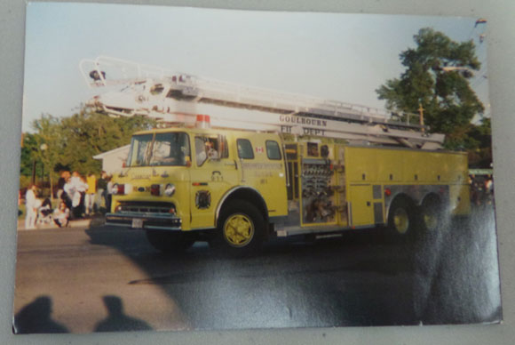 "Stittsville fire department's first ladder truck, nicknamed ""Tweety Bird""."
