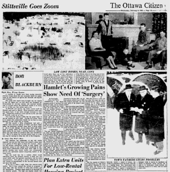 """Stittsville Goes Zoom"" page from the February 3, 1960 Ottawa Citizen."