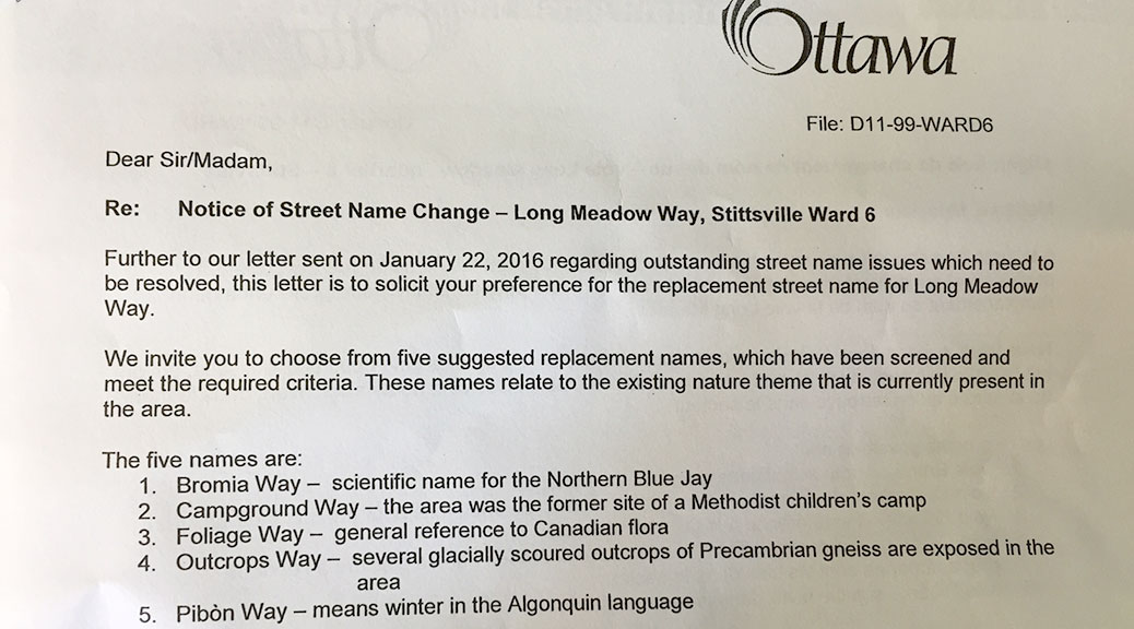 Letter about new street names on Long Meadow Drive