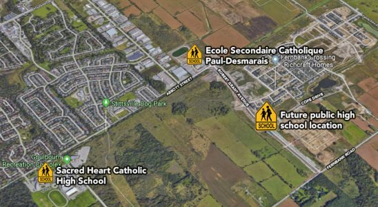 Map showing the location of the future public high school