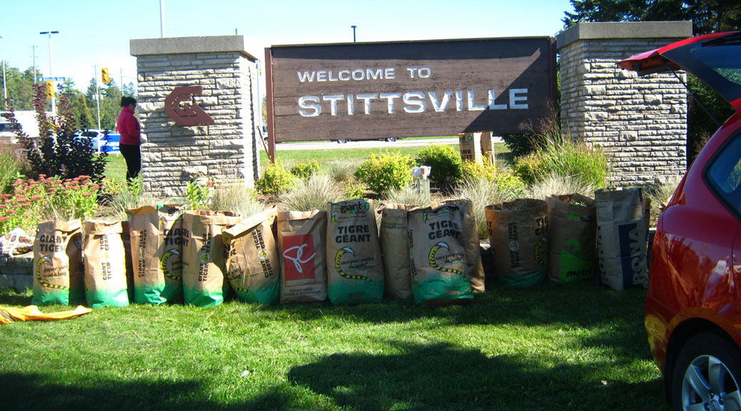 Volunteers helped clean up the area around the Stittsville sign. Photo via the Stittsville-Goulbourn Horticultural Society