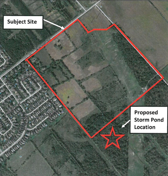 Aerial map from the application documents showing the location of the development at the corner of Fernbank and Shea