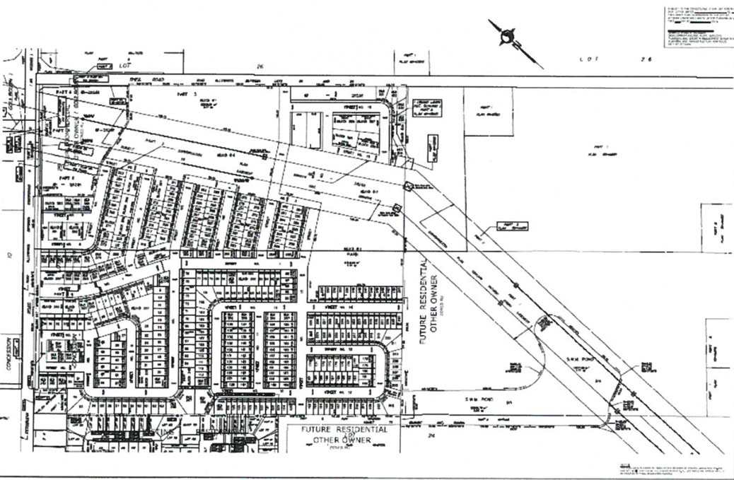 Draft plan of subdivision. Shea Road is along the top, Fernbank Road is on the left, and a hydro corridor runs through the land.