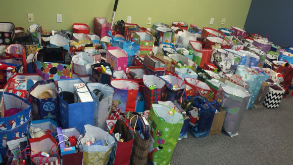 Some of the gift bags packed and ready go from last season.