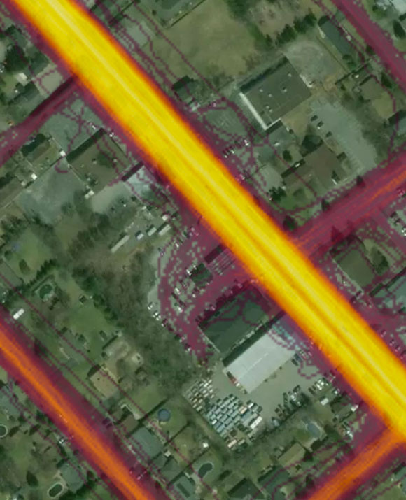 This close-up of the cycling heat map shows that a lot of riders make a stop at Lois & Frima's on their ride.