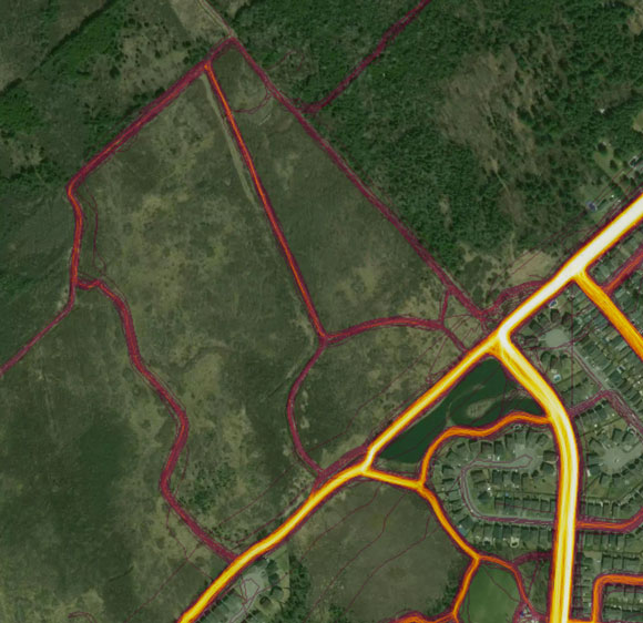 Here are some un-marked trails on private property north of Jackson Trails. They're popular for dog walkers.