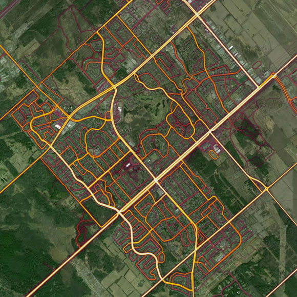Here's a zoomed-out view of Stittsville. The Trans Canada Trail next to Abbott Street is the brightest line, running diagonally from bottom left to top right.