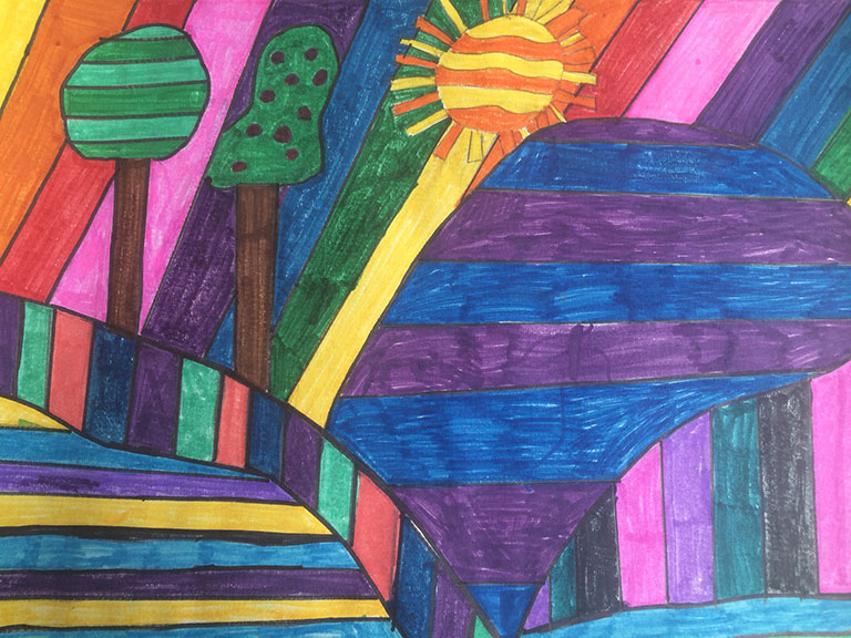 """Summer rays"" abstract using markers by Brianna Richard Age 9."