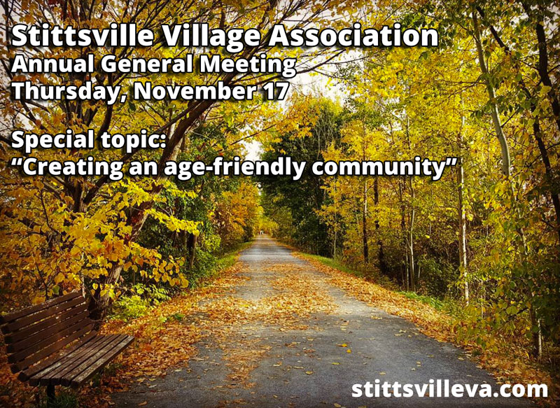 """SVA AGM: Our special topic is: """"Creating an age-friendly community"""""""