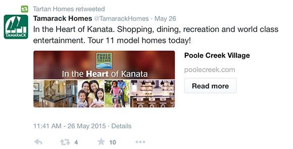 Poole Creek Village tweet
