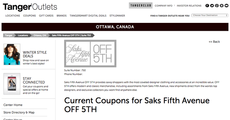 Saks Fifth Avenue Off 5th at Tanger Outlets Kanata. Screen shot courtesy of Retail Insider http://www.retail-insider.com/retail-insider/2015/1/saks-off-5th