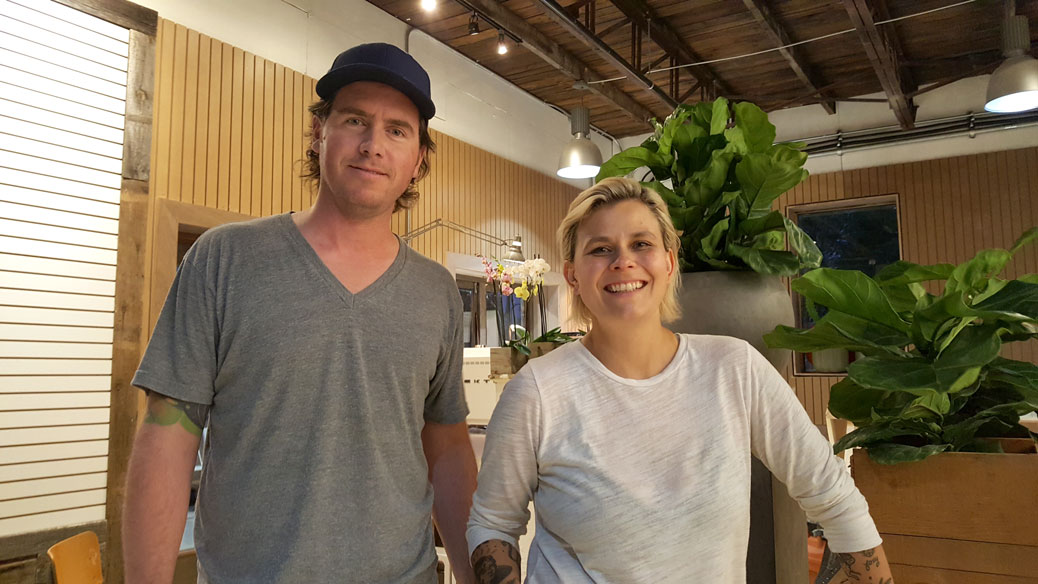 Thom Johnson will run Steelwool Cycleworks, the bike shop, and Kat Kosk will run blumenstudios, the cafe-florist. Photo by Glen Gower