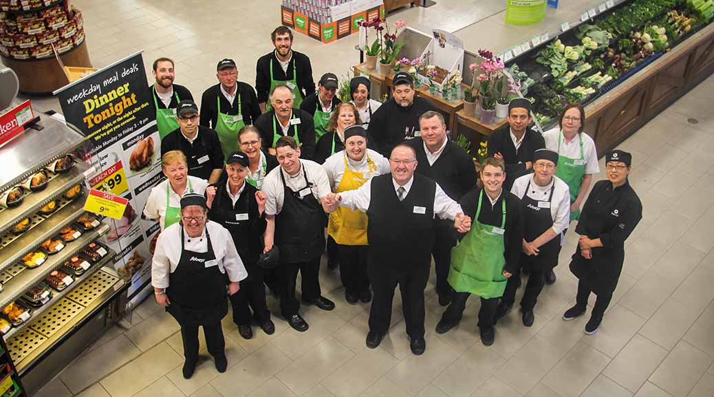 Tim Laplante the manager/owner of the Sobeys on Carp Road with some of his staff. Photo by Barry Gray.