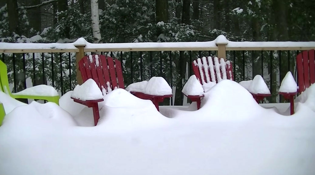Stittsville's Dave Rooney set up his camera to record the snow falling on his back deck.