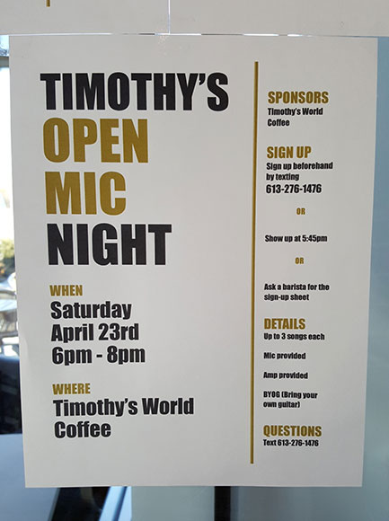 Timothy's hosts an open mic night on Saturday, April 23