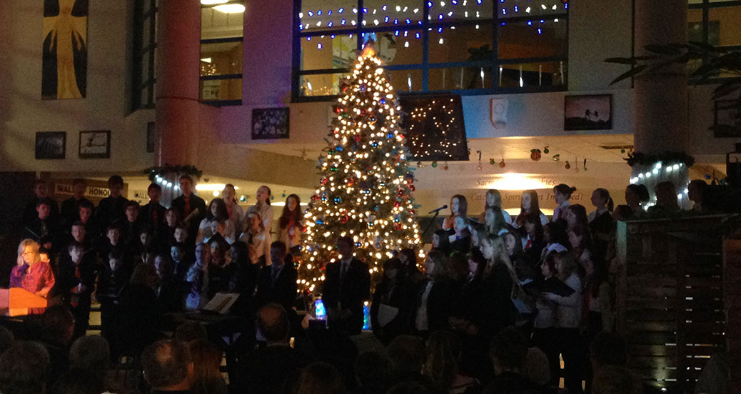 Tree lighting at Sacred Heart