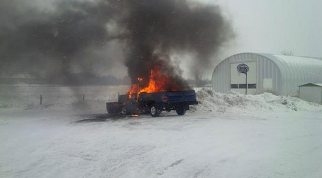 Firefighters extenguish a truck fire on Fallowfield Road. Photo courtesy of Todd Horricks / Ottawa Fire.