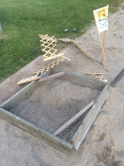 Vandals wrecked an enclosure used to protect snapping turtle eggs at Stitt Park.